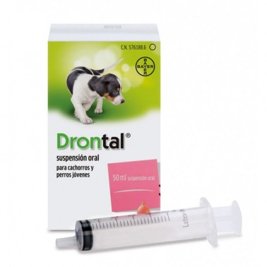 DRONTAL SUSPENSION ORAL 50 ml desparasitar perros jovenes y cachorros