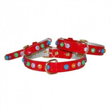 Collar Charol con diamantes de color 1,5 x 30 cm rojo