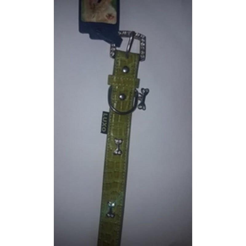 Collar luxo con huesitos verde 2,5 x 57 cm