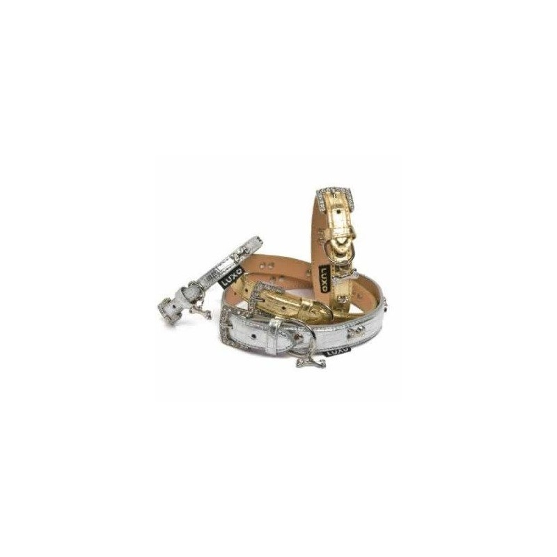 Collar luxo silver/gold para perro 2,5 x 70 cm