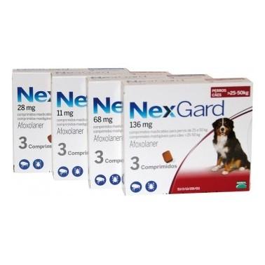 NEXGARD MASTICABLE 11 mg (2-4 Kg) 3 COMPRIMIDOS desparasitar perros