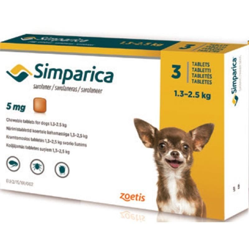 SIMPARICA 3 Comprimidos para Perros - Garrapatas, Pulgas y Sarna