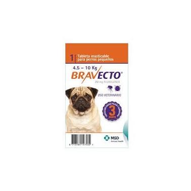 BRAVECTO MASTICABLE PERRO 4,5- 10 kg 1 Comprimido Antiparasitario para perros