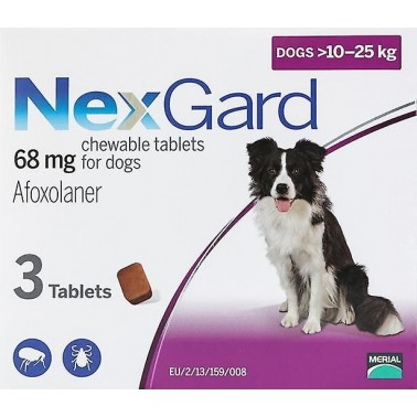 NEXGARD MASTICABLE 4-10 kgr 3 COMPRIMIDOS desparasitar perros