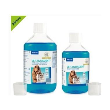 VET AQUADENT VIRBAC 500 ml Solución antiplaca,   para el agua de bebida. Para la higiene bucodental diaria de perros y gatos.