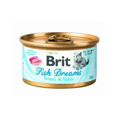 BRIT FISH DREAMS GATO ADULTO CON ATÚN Y GUISANTE  LATITA DE 80g