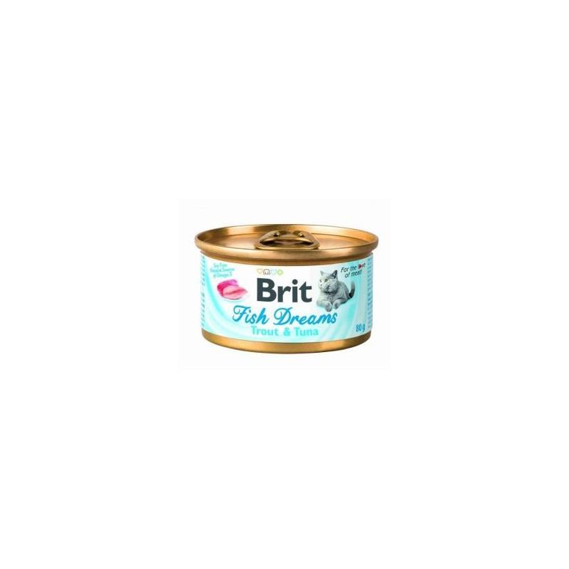 BRIT FISH DREAMS GATO ADULTO CON ATÚN Y GUISANTE  LATITA DE 80g
